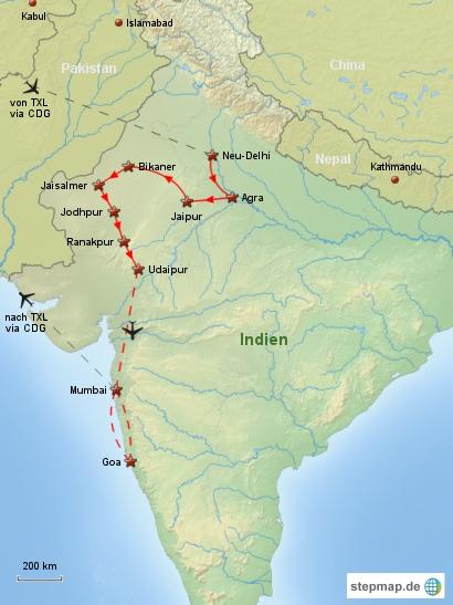 Reiseverlauf Indien 2000