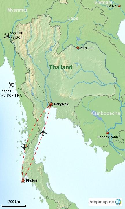 Reiseverlauf Thailand 1998