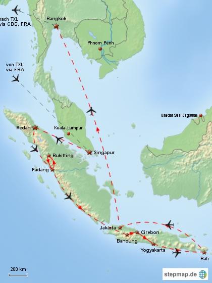 Reiseverlauf Südostasien 1996