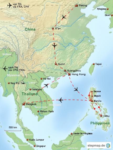 Reiseverlauf China Philippinen 1994