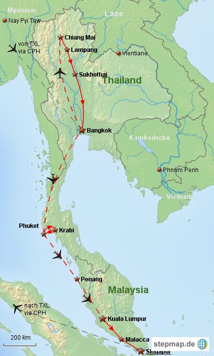 Reiseverlauf Südostasien 1991