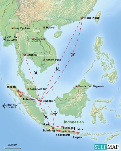 Reiseverlauf Südostasien 1985