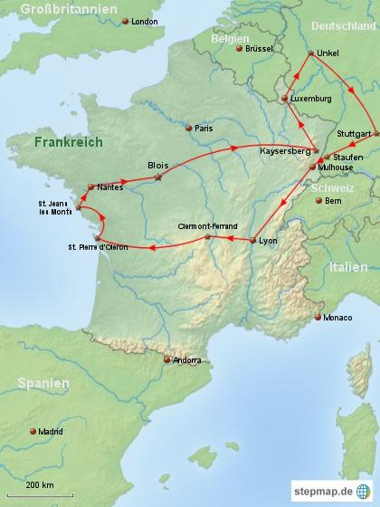 Reiseverlauf Frankreich 2010