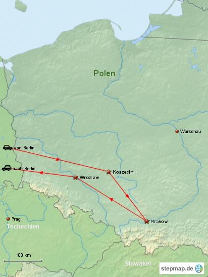 Reiseverlauf Polen 2008
