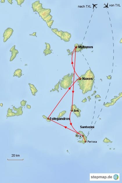 Reiseverlauf Kykladen 2003