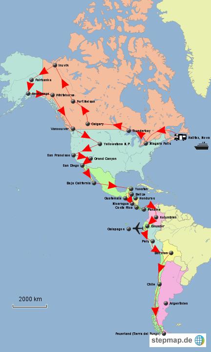 Panamericana-Routenverlauf