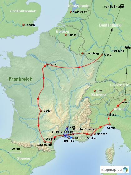 Reiseverlauf Frankreich 1999