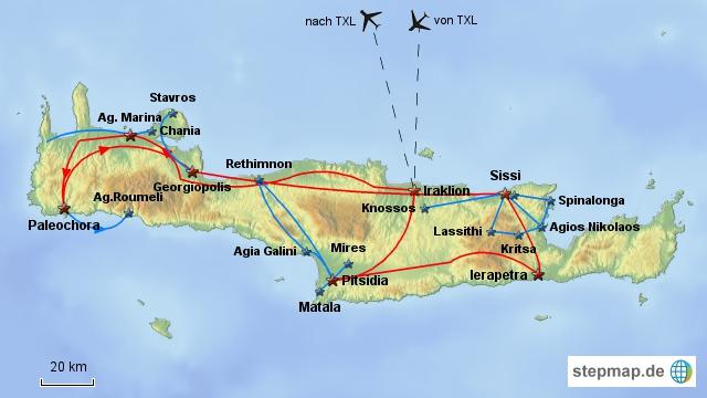 Reiseverlauf Kreta1995