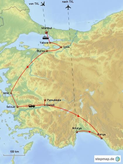 Reiseverlauf Türkei 1988