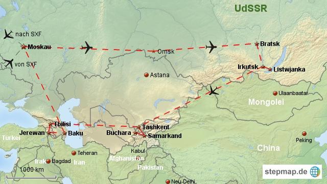 Reiseverlauf UdSSR 1987