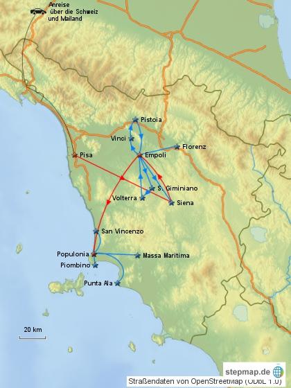 Reiseverlauf Italien 1986