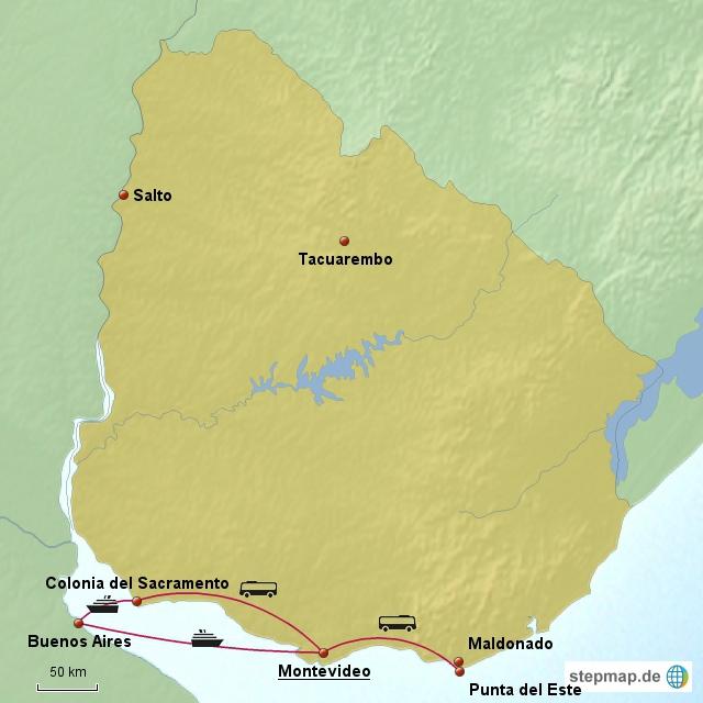Unsere Route durch den Süden Uruguays