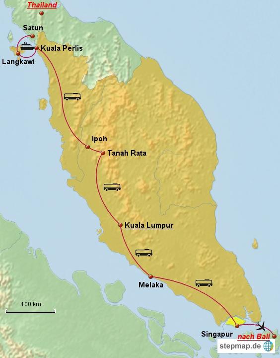 Auf dieser Route wollen wir der Westküste entlang über die malayische Halbinsel und dann weiter bis nach Singapur reisen.