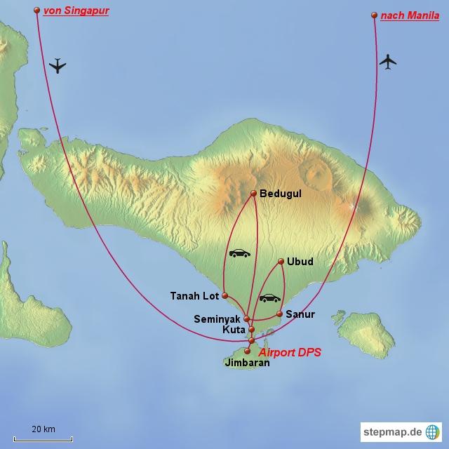 Die Karte zeigt die Ziele während unseres Aufenthaltes auf Bali