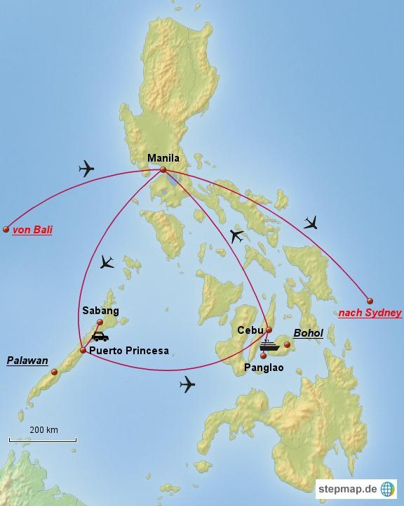 So sieht unsere Route durch die Philippinen in den nächsten 3 Wochen aus.