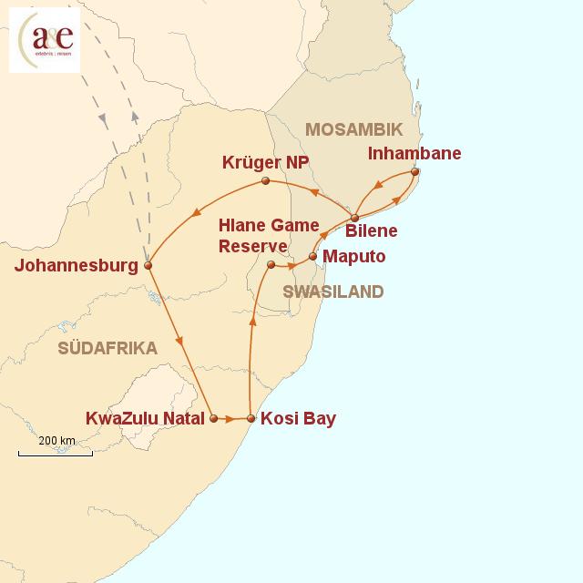 Routenkarte zur Reise Afrika hautnah!