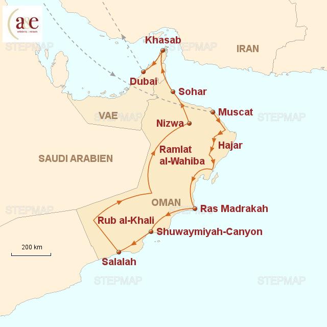 Routenkarte zur Reise Dhofar & Musandam