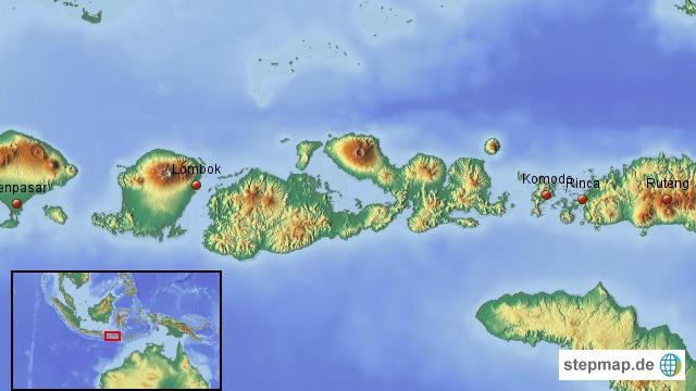 Die Inseln: Wir kommen von Java mit der Fähre zuerst auf die Insel Bali, dann die Gilis, Lombok und zum Schluss Flores mit einem Ausflug nach Komodo und/oder Rinca