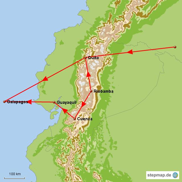 und hier, das vermutliche Landprogramm. Bisher ist aber nur Quito und die Insel Baltra sicher