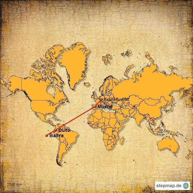 Die Flugroute: Frankfurt - Madrid - Quito