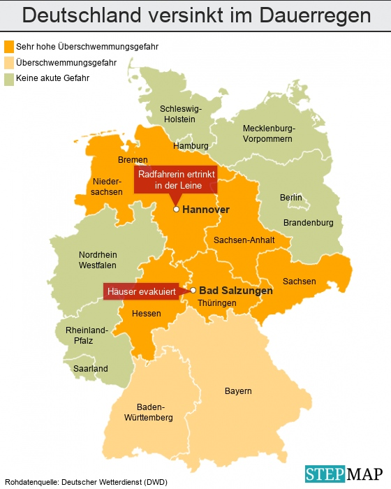 Deutschland versinkt im Dauerregen