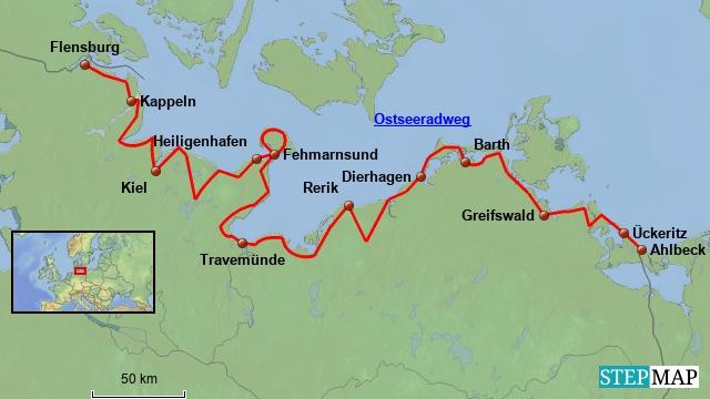 Ostsee Deutschland Karte.Ostseeradweg Karte Karte