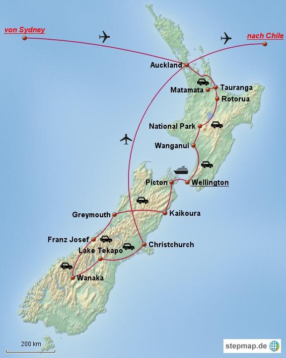 Auf dieser Route wollen wir mit unserem Mietwagen über beide Inseln von Auckland nach Christchurch fahren. Zurück nach Auckland geht es dann per Flugzeug.