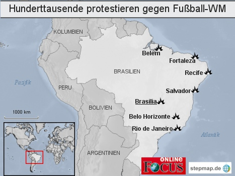 Brasilien: Hunderttausende protestieren gegen Fußball-WM