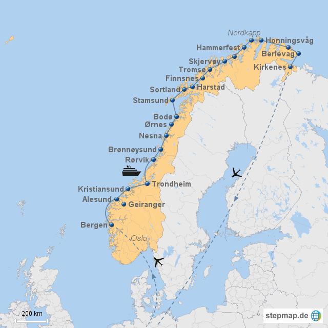 Hurtigruten Bergen-Kirkenes mit Flug ohne Logo
