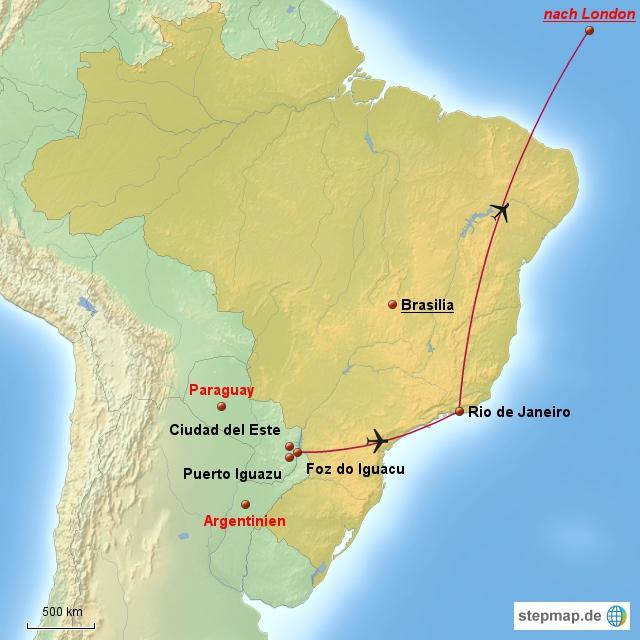 Auf dieser Karte sieht man erst mal, wie riesig Brasilien ist. Leider besuchen wir dieses Mal nur 2 Orte.