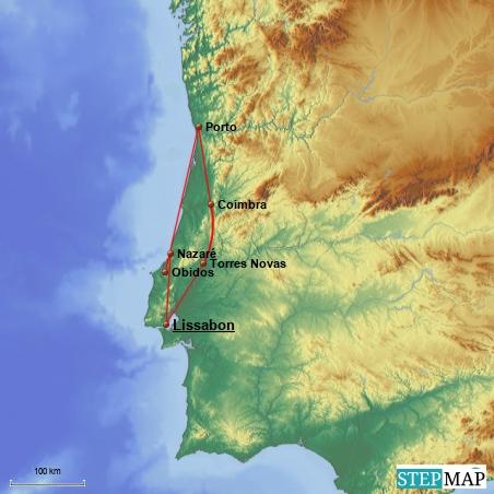 Unsere Reiseroute durch Portugal