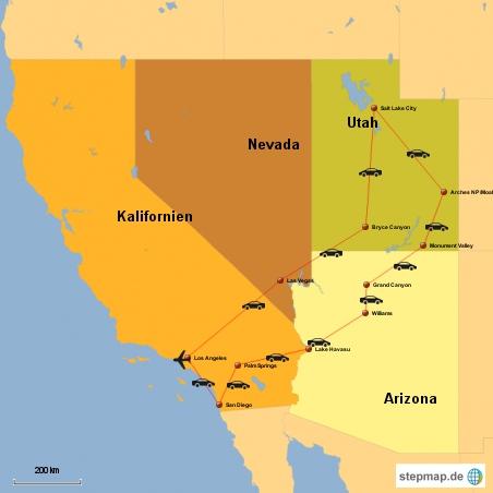 Vier Bundesländer im Südwesten plus New York an der Ostküste (auf der Rückreise) werden wir in 23 Tagen bereisen.
