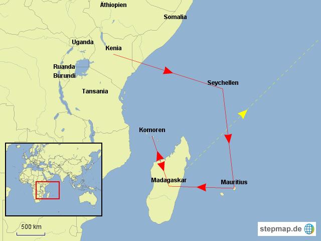 So ganz zufrieden bin ich mit den erstellten Karten noch nicht, aber ich werde weiter testen... Hier meine Route in der Region 2, dem indischen Ozean. Von Djibouti aus über Nairobi ging es zunächst auf die Seychellen, dann nach Mauritius, um dann über Madagaskar auf die Komoren zu fliegen. In die Region 3, Asien und Mikronesien, geht es über Madagaskar und Bangkok.