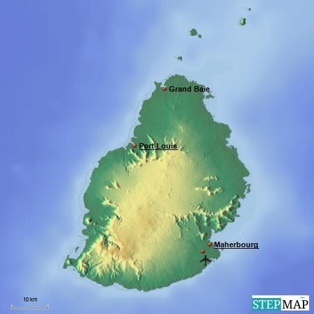Eine kleine Übersicht über Mauritius mit Grand Baie, Port Louis und dem Flughafen im Südosten