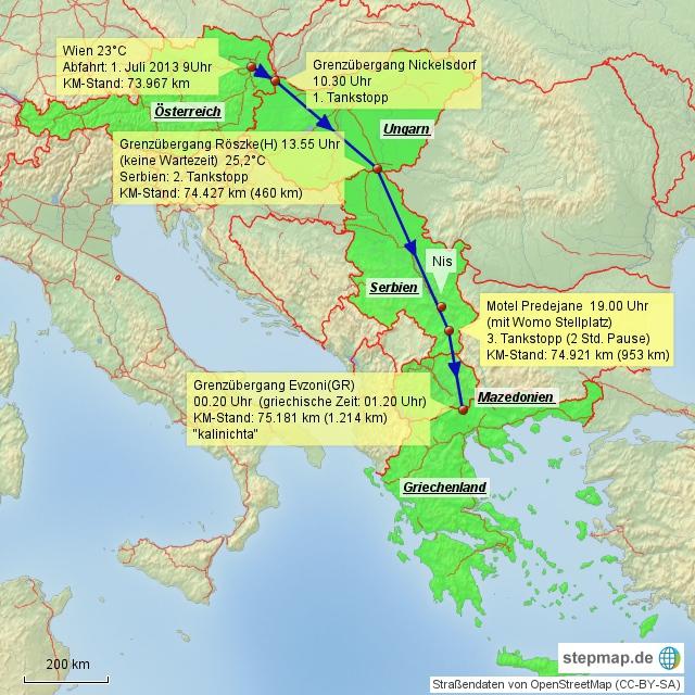 Griechenland 2013 Anreise