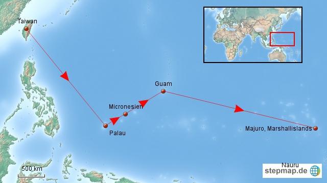 ... und dann geht es weiter Richtung Südsee, zunächst Mikronesien.