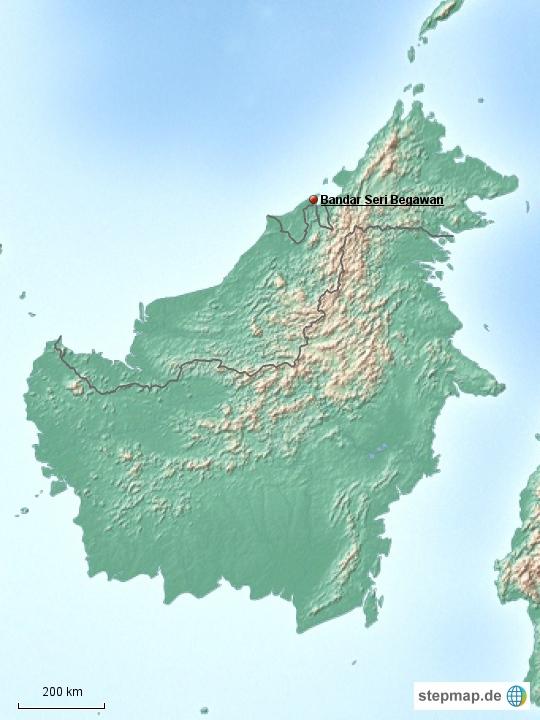 Brunei nimmt nur einen kleinen Teil der Insel Borneo ein und besteht aus zwei Landesteilen, die durch einen Streifen Staatsgebiet Malaysias getrennt sind. Als dritter Staat ist Indonesion auf dieser Insel vertreten.