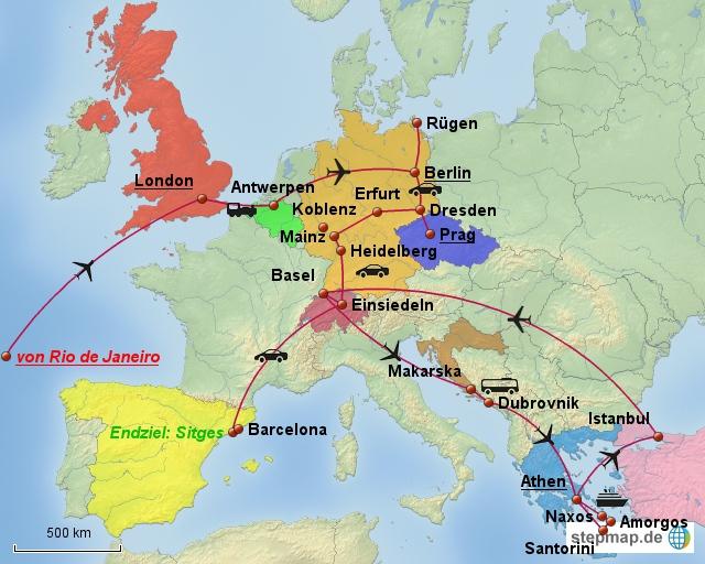 Dies ist unsere geplante Tour durch Europa - die Route steht zwar noch nicht 100%ig fest, wird dann aber angepasst.