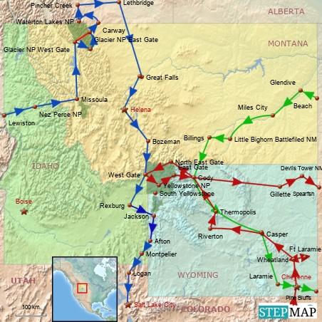 Blau = Idaho, Montana1,Wyoming1 Rot = Wyoming2 Gruen = Montana2, Wyoming3