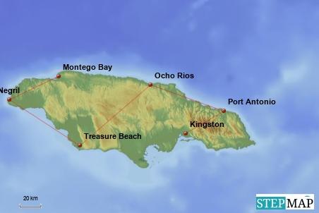 Wir landen in Montego Bay und fliegen nach unserer Tour von Kingston wieder zurück.