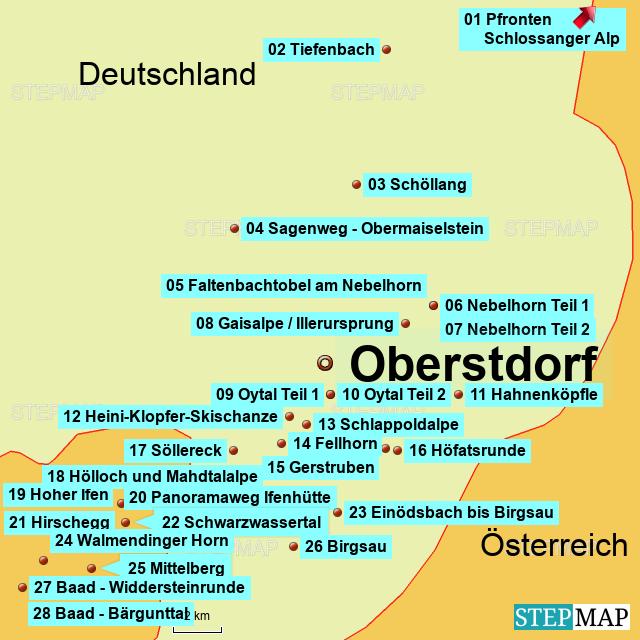 Wanderrouten in Süddeutschland_nummeriert