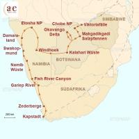 Routenkarte zur Reise Glanzlichter des Südlichen Afrikas (feste Unterkünfte)
