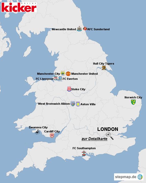 Die Premier League im Kartenbild