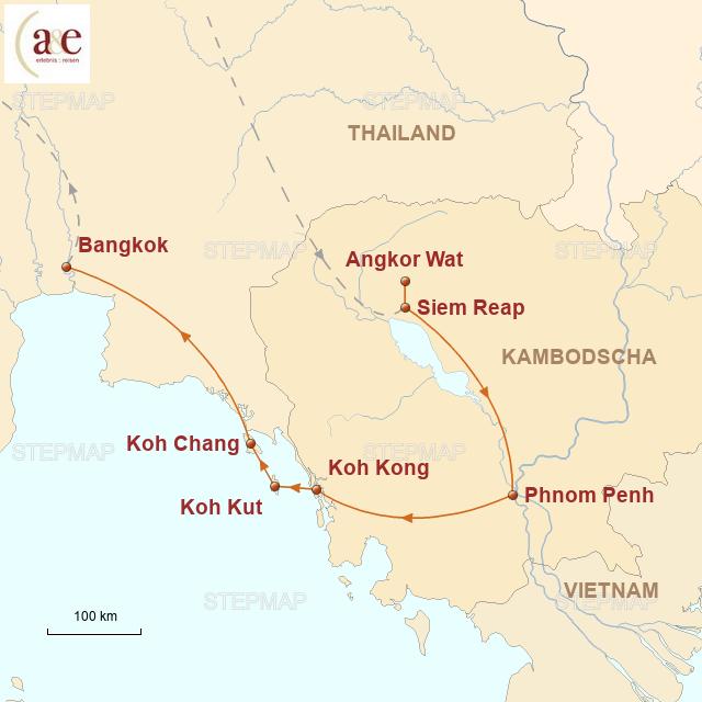 Routenkarte zur Reise Dschungel-Tempel & Inseln im Meer…