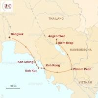 Routenkarte zur Reise Kambodscha & Thailand – Dschungel-Tempel & Inseln im Meer…