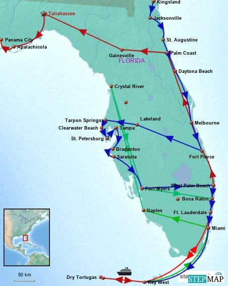 Blau = Florida 1 Gruen = Florida 2 Rot = Key West 2. Besuch und Ausreise