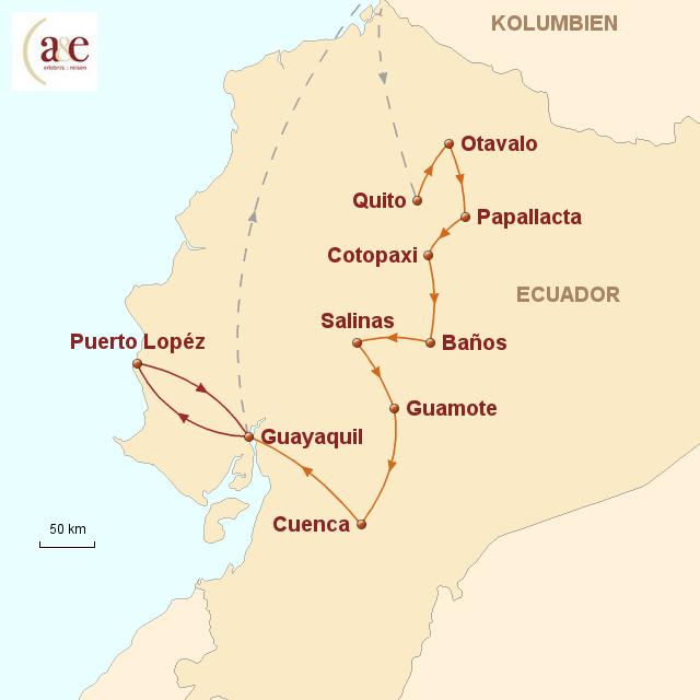 Routenkarte zur Reise Kleiner Andenstaat ganz groß!