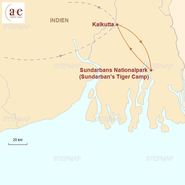 Routenkarte zur Reise Sunderbans-Nationalpark