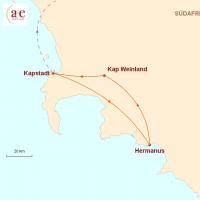 Routenkarte zur Reise Kap & Wein