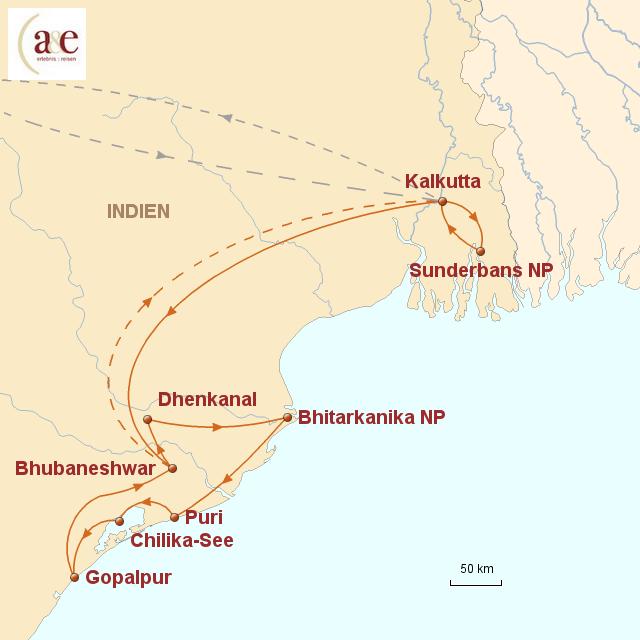 Routenkarte zur Reise Von den Sunderbans zu Orissas Tempeln